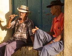 smoking cigars in Trinidad, Cuba