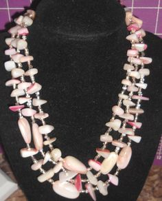 Vintage to Mod  Abalone peach to pinks necklace 3 stranded very  lovely