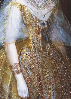 amazing detail in this gown: jewels in the skirt, and the portrait bracelet. #art #arthistory #fashion A Portrait of Grand Princess Maria Aleksandrovna by Ivan Makarov (detail)