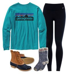 """Bean boots"" by spcprep ❤ liked on Polyvore featuring NIKE, Patagonia and L.L.Bean"