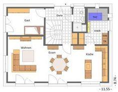 Toller flexibler Grundriss, EG, 150 qm Wohnfläche House Plans, Floor Plans, How To Plan, Classic, Houses, Holiday, Plants, New Construction, Bauhaus Style
