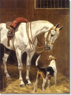 Charles - Fernand De Condamy - Charles Fernand De Condamy Grey With Foxhound in Stable Painting