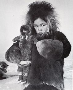 "Richard Harrington's (""The Inuit: Life as it was"") The Inuit live throughout most of the Canadian Arctic and subarctic in the territory of Nunavut. ~ A mother goddess in training..."