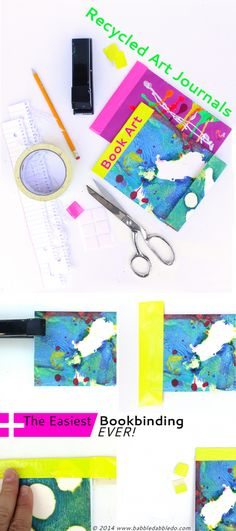 Learn how to make journals from recycled children's art and the easiest bookbinding (EVER!).