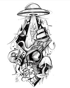 Find the tattoo artist and the perfect inspiration for … – – Tattoo Sketches & Tattoo Drawings Trippy Drawings, Space Drawings, Cool Art Drawings, Pencil Art Drawings, Art Drawings Sketches, Tattoo Sketches, Drawing Drawing, Drawing Tips, Unique Drawings