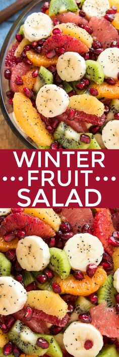 Winter Fruit Salad | Lemon Tree Dwelling | Take advantage of citrus season with this delicious Winter Fruit Salad! Loaded with all your favorite winter citrus fruits, plus bananas, kiwi, and pomegranate seeds, this salad is bright and sweet and guaranteed to help you beat the winter blues.