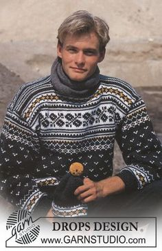 DROPS ski-sweater i Alaska med nordisk Hue i Dame- og Herrestr. Gratis opskrifter fra DROPS Design.