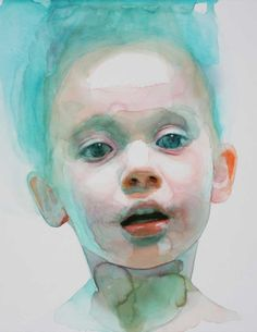 """Essence"" - Ali Cavanaugh, watercolor {figurative realism art beautiful child boy face portrait cropped painting} alicavanaugh.com"