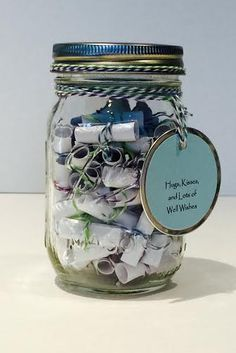 Customized Mason Jar full of personalized messages written by the ones they love most! Perfect For:  Loved one deployed, Significant others, Loved