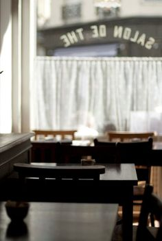 maybe café curtains instead of a big unadorned window. Bakery Cafe, Cafe Bar, Half Curtains, Modern Hepburn, Restaurants, Cozy Cafe, Beautiful Sites, Brown Dress, Store Fronts
