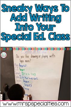 Here are 3 different ideas for fitting extra writing opportunities into your special education program. Many students with disabilities find writing to be very challenging and difficult. Our students don't want extra practice, but they need it. Here are 3 ideas to get you started.