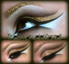 halloween makeup diy -- cleopatra or egyptian makeup inspiration. love the idea of the gold glitter blocked eyebrows, they add the extra oomph