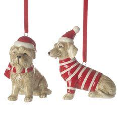 Ceramic Hanging Xmas Dog Mix quirky cute non-religious decorations