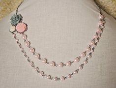 Handmade Resin Flower Necklace Flower Pearl Necklace Pink Flower Necklace Grey Rose Necklace Pink Pearl Flower Necklace Asymmetrical Pearl