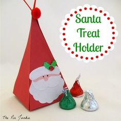 Paper Santa Treat Holder The Pin Junkie All Things Christmas, Christmas Holidays, Christmas Decorations, Christmas Ornaments, Handmade Christmas, Advent, Treat Holder, Christmas Activities, Christmas Wrapping