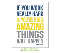 8x10 Amazing Things Will Happen Conan O'Brien Quote Print Blue Yellow Gray on Etsy, $14.00