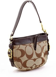 7aafcc54f6f12 COACH 41856 Zoe Signature Top Handle Pouch Brown purse  Coach  ShoulderBag  Coach Purses