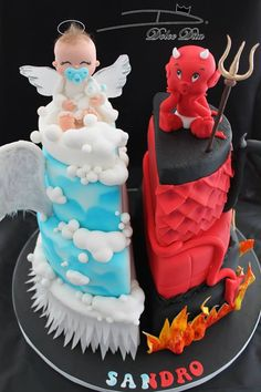 Little Angel & Little Devil, Split Cake Art. Dolce Dita - well, it& basical. Pretty Cakes, Cute Cakes, Beautiful Cakes, Amazing Cakes, Torta Angel, Angel Cake, Torta Baby Shower, Bolo Supernatural, Fondant Cakes