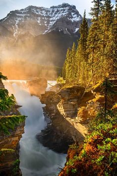 Sunrise light at Athabasca Falls Canada | JD Hascup Say Yes To Adventure