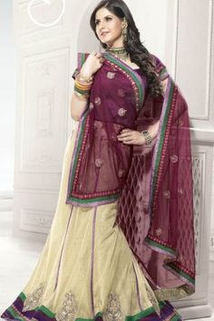 Cream & Maroon Net Designer Saree