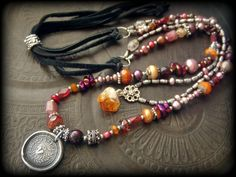 Bohemian, Gypsy, Vintage, Citrine, Heart, Wax Seal, Tourmaline, Pearls, Glass, Multi Strand, Leather, Beaded Necklace by YuccaBloom on Etsy