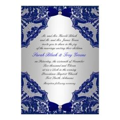 Navy blue and Silver Wedding Invitation from Zazzle.com