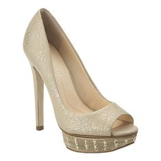 """Boutique 9 peep toe platform pump with detailing on the platform.  All leather upper with 5 1/2"""" heel and 1.25"""" platform."""