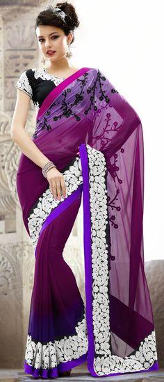Lavender, Dark #Magenta and Dark #Purple Faux #GeorgetteSaree With Blouse @ $105.80