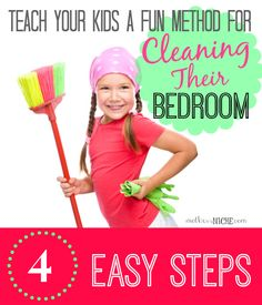 teach kids a fun method for cleaning their room.