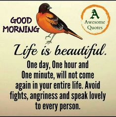 Awesome quotes e is beautifial one day one hour and one minute will Weekday Quotes, Sunday Quotes, Daily Quotes, Best Quotes, Life Quotes, Awesome Quotes, Morning Greetings Quotes, Morning Quotes, Clean Eating