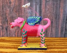 Angel Dog with Wings & Doves - Mexican folk art - Pink Labrador by Ortega family