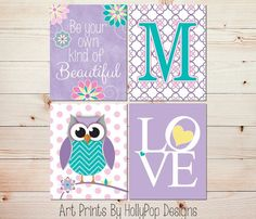 lavender and turquoise wall decor | Girls Room Wall Decor-Baby Girl Nursery-Purple aqua Pink-Whimsical Owl ...