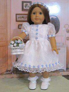 "Flower Girl Ensemble for Molly.Kit,Lea, Maryellen 18"" American Girl Doll Clothes #Handmade #DollClothes"