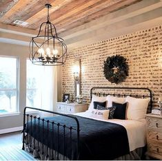 Nice 88 Relaxing Rustic Farmhouse Master Bedroom Ideas. More at http://88homedecor.com/2018/02/09/88-relaxing-rustic-farmhouse-master-bedroom-ideas/. Light fixture?