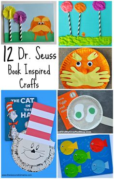 Dr. Seuss book inspired crafts for including (The Cat in the Hat, The Lorax, One Fish Two Fish Red Fish Blue Fish, Green Eggs and Ham and more)