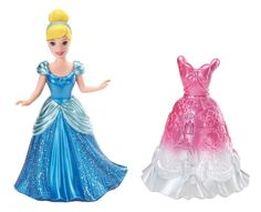 Sometimes a princess can't settle on just one royal fashion - and why should she have to? Cinderella doll comes dressed in a shimmering iconic look, along with an additional fashion inspired by her fa