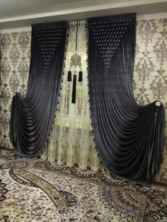 **Notice Tie back Luxury Curtains, Elegant Curtains, Gold Curtains, Kids Curtains, Beautiful Curtains, Curtains With Blinds, Curtain Styles, Curtain Designs, Window Coverings