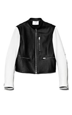 Matte Finish Lamb Zip-Up Moto Jacket With Contrast Sleeves And Split Hem by Alexander Wang for Preorder on Moda Operandi