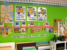 "Ancient Civilization Timeline... If only my classroom had more room! How can I make this a pop-out so it's considered ""interactive""?"