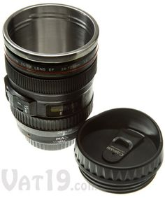 Camera Lens Mug: 12-ounce stainless steel coffee mug looks like a DSLR lens.  This might make a good gift for someone who loves photography!