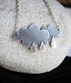 rain cloud pendant rainy day necklace weather by LolaAndCash Metal Jewelry, Jewelry Art, Jewelry Design, Lace Jewelry, Ceramic Jewelry, Silver Jewellery, Antoine Bourdelle, Rain Collection, Rain Clouds