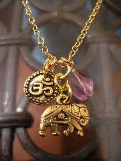 Gold Elephant , Genuine Amethyst and OM necklace at: www.etsy.com/shop/redgypsyjewelry