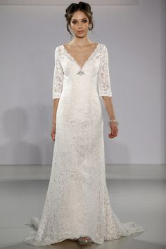 Maggie Sottero - Bridal Fall 2013    TAGS:Embroidered, Floor-length, Long sleeves, Train, White, Cream, Maggie Sottero, Lace, Glamour