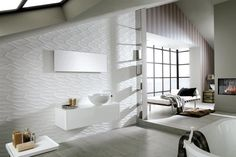 Modern White Porcelanosa Bathroom with Awesome Looking Bathroom Concept and Polished Bare White Acrylic Bathtub Tiles, Bathroom Curtains, Wall Tiles, Floor Tile Design, House Styles, Small Bathroom, Sophisticated Bathroom, Acrylic Bathtub, Wood Plank Tile