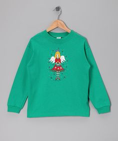 Take a look at this Kelly Green Christmas Angel Tee - Toddler & Girls by Happy Holidays: Girls' Apparel on #zulily today!