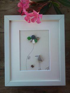 Pebble art sea glass art pebble art framed by pebbleartSmiljana