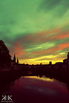 Sunset over the river Lee in Cork, Ireland