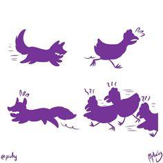 : #WebcomicZ 022 : #ClipStudioPaint  #Cintiq  #: #webcomic #comics #comicdiario #dailycomic #comic #tebeo #illustration #draw #sketch #drawing #art #artistsoninstagram #dibujodiario #cute #adorable #digital #digitalpainting #digitalart : #DailySketch 753 #purple #purpura #fox #zorro #hen #gallina