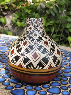 Southwestern Hand Painted Gourd Pot 601 by AChristmasbyCarol, $60.00