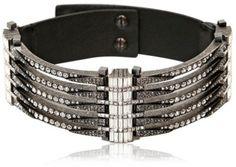Lanvin Black Swarovski and Leather Choker Necklace